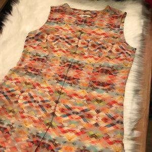 Cabi Sheer Avery Aztec Tunic Sleeveless Button Up